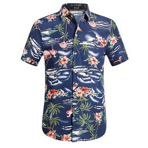 5a41dc450 SSLR · Flamingos Casual Short Sleeve Aloha Hawaiian Shirt